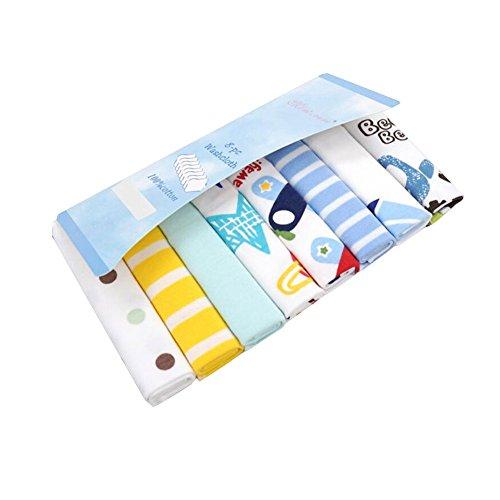 CuteOn Paquete de 8 Súper Suave Bebé Washcloth Alimentación Limpiar Paño para Recién nacido Chicos & Chicas Azul Coche