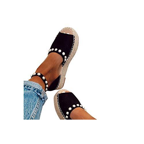 Damen Espadrilles Sandalen mit Leoparden Print, Plateausohle Strandsandalen Schnalle Sommer Bequeme Elegante Sandaletten Celucke (Schwarz, EU40)