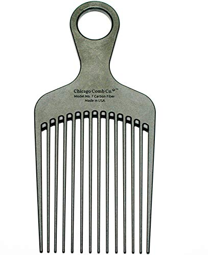 Chicago Comb Model 7 Carbon Fiber Pick Comb, for Long Thick Curly & Afro Hair, Black Color, 6 inches (15 cm)