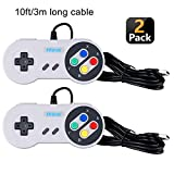 Hizue Mando Snes Usb (2 Pack,10ft/3M), Super Snes Controller Gamepad Joystick para PC,MAC,Windows,Ubuntu Linux,Android/RetroPie,Raspberry Pi 3,Recalbox/Genesis,SNES,NES