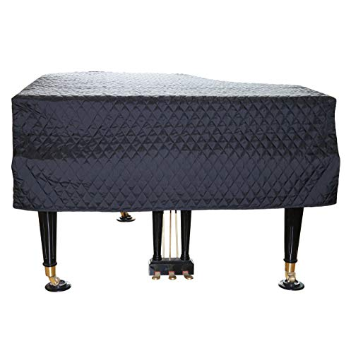 ESYUEL Grand Piano Cover Dust Protective Cover with Quilted Diamond Pattern(160cm/62.9in, Black)
