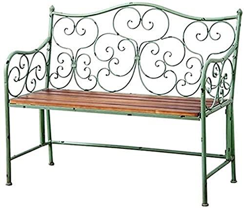 Banco al aire libre Banco de patio, muebles de porche delantero, banco de jardín de 2 plazas para patio de 42.5 pulgadas, banco de madera maciza de hierro forjado, silla de salón con balcón de pa