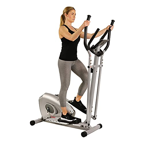 Sunny Health & Fitness SF-E3607 Magnetic Elliptical Bike Elliptical Machine w/ Device Holder, LCD Monitor and Heart Rate Monitoring, grey (Renewed)