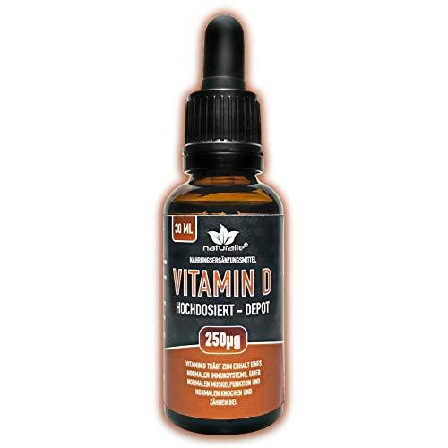 naturalie® - Vitamin D Tropfen DEPOT mit 10.000IE in C8 Kokosöl - laborgeprüfte Markenqualität ohne unnötige Zusatzstoffe - Langzeitvorrat 30ml