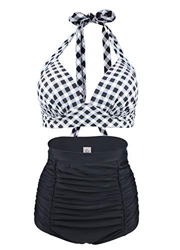LA ORCHID Laorchid Rockabilly 1950s Damen Hohe Taillen Badeanzug Bikini Neckholder Bügellos Kariert Schwarz & Weiss M