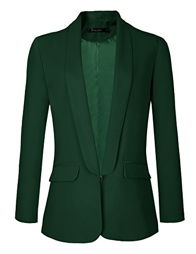 Urban CoCo Womens Office Blazer Jacket Open Front (L, Dark Green)