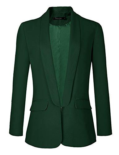 Urban CoCo Women's Office Blazer Jacket Open Front (XL, Dark Green)