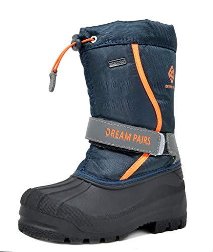 DREAM PAIRS Toddler Kamick Navy Grey Orange Mid Calf Waterproof Winter Snow Boots Size 9 M US Toddler
