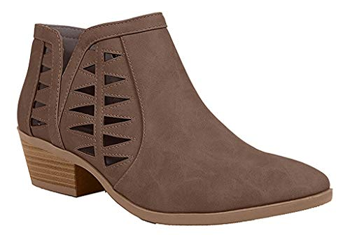 Soda Women's Perforated Cut Out Stacked Block Heel Ankle Booties Light Brown Dist (5.5)