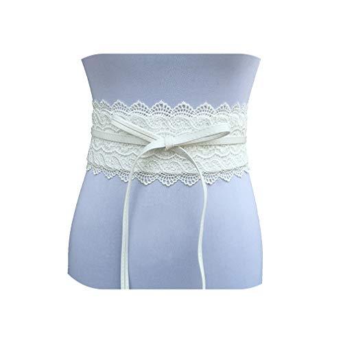 Zwart Wit Breed Korset Kant Riem Zelf Tie Tailleband Riemen voor Vrouwen Bruiloft Jurk Taille Band-Wit-size