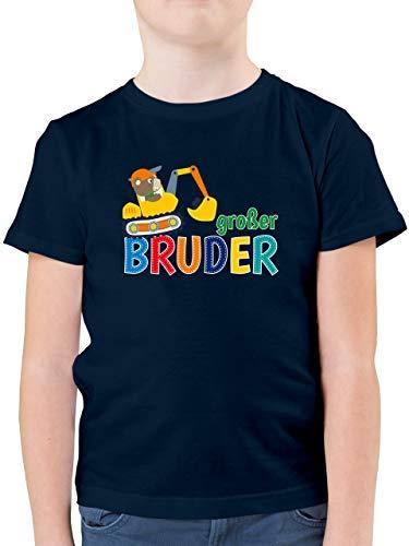 Geschwisterliebe Kind - Großer Bruder Bagger - 104 (3/4 Jahre) - Dunkelblau - Tshirt Kinder grösse Bagger - F130K - Kinder Tshirts und T-Shirt für Jungen