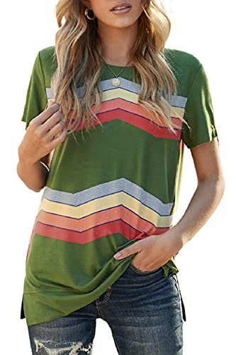 Voqeen Camisa de Manga Larga Tallas Grandes Mujer Camisas Estampado de Moda de Mujer Verano Camisas Blusas Tops Cold Shoulder Blusa Camisa Algodón Shirt (W - Verde, XL)