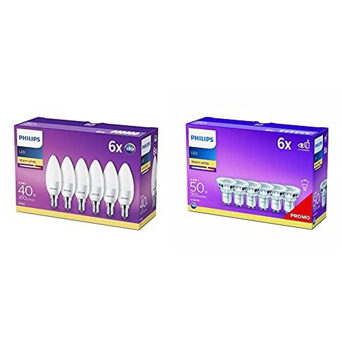 Philips Lampadine Led Candela, E14, 5.5 W Equivalenti A 40 W, 2700 K, Luce Bianca Calda & Led Spot - Lampada Led, Attacco Gu10, 4.6 W Equivalenti A 50 W, Luce Bianca Naturale Calda