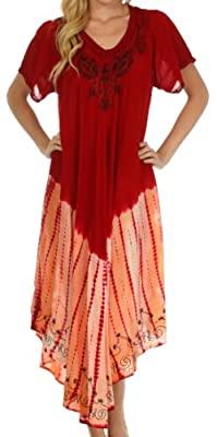 Sakkas 20SE Viveka Embroidered Caftan Dress - Red - One Size