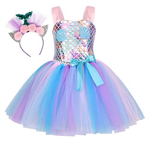 Jurebecia Disfraz Sirenita Princesa Sirena Fiesta de Disfraces Pequeña Niñas Vestido de Tutú Outfit con Accesorio Halloween Plata 6-7 Años