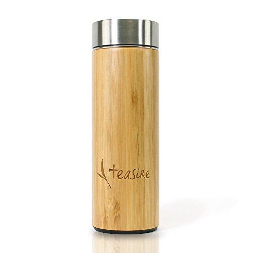 Teasire Bambus Thermobecher - Die ideale Tea to go Thermoflasche im edlen Bambus Design, 300ml