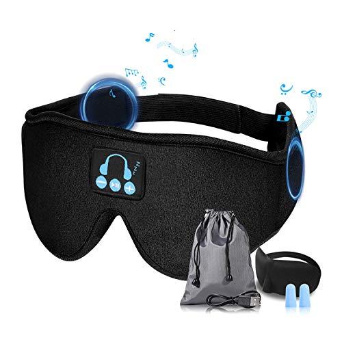 AYPOW Bluetooth Antifaz para Dormir, Wireless 5.0 Bluetooth 100% Blackout Dormir Antifaz Auriculares cancelación de ruido con sonido estéreo HD,Ajustable y lavable, para siestas/Yoga/Avión/Noche