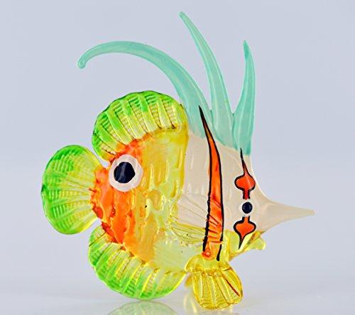 Unbekannt Zierfisch Türkis Blau Pink Grün - Glas Figur Korallenfisch Streifen Orange mit Punkt y 60 - Glasfisch Deko Aquarium Vitrine