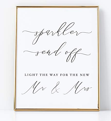 Sparkler Send Off Sign for Wedding Reception White Sign with Black Lettering Printed on Professional Thick Linen Cardstock White Wedding Decoration UNFRAMED Elegant Minimalist Style