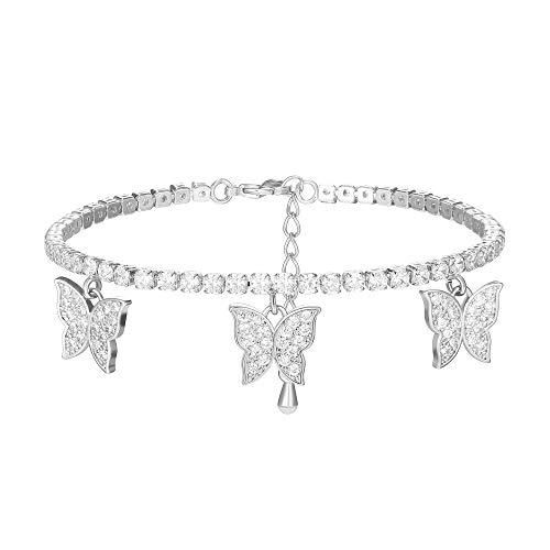 JinHan Pulsera para Mujer Pulsera de Mariposa Pulsera de Tenis de Plata esterlina S925 Pulsera Deslizante de Cristal Pulsera Ajustable de Diamantes Brillantes para Mujer, Oro/Plata/Oro Rosa