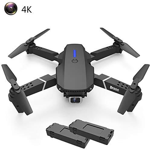 APJS Drone con Cámara 4K HD de WiFi 110° Gran Angular Ajustable FPV RC Quadcopter Drones Plegables Flying Toys Duración Batería 30 Minutos para Adultos Drone con Luces LED giratorias,Negro