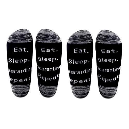 Calcetines AATOP con aislamiento automático para comer dormir, repetir cuarentena de algodón, calcetines de distanamiento social, regalo para hombres y mujeres Negro Juego de 2 pares. Talla única