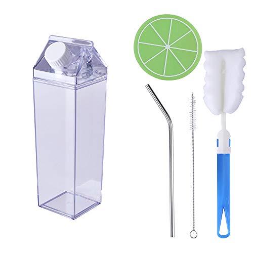 ORISIMP Milk Carton Water Bottle,Square Clear Water Bottle,Outdoor Sports Plastic Water Cup,Simple Portable Water Bottle(500ml)