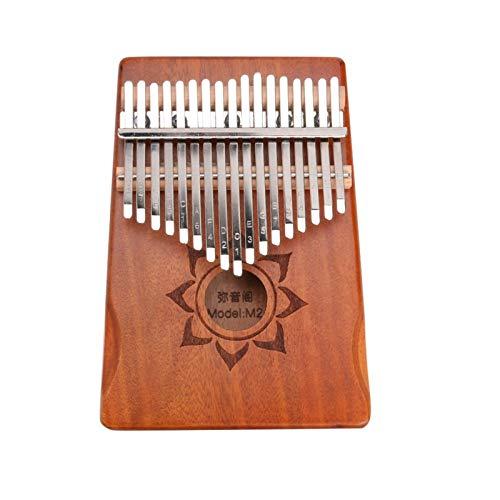 Kalimba, Daumenklavier 17 Keys Kalimba Holz Mahagoni Daumenklavier Finger Percussion Musikinstrument mit Tuning Tool Tuner Aufbewahrungstasche (Color : Brown)