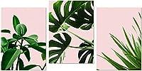 アートウォールミニマリスト熱帯の葉プリントネイチャーポスターグリーンフレッシュピンクウォールアートリビングルームの装飾写真3x60x80cmフレームなし