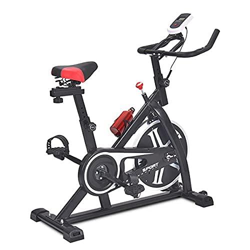SAFGH Bicicleta de Ciclismo para Interiores, Bicicleta de Ejercicios para Interiores con transmisión por Correa, Bicicleta estática para Bicicletas con un cómodo cojín para el Asiento, para entren