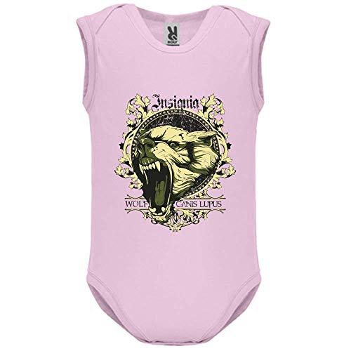 LookMyKase Body bébé - Manche sans - Canis Lupus - Bébé Fille - Rose - 3MOIS