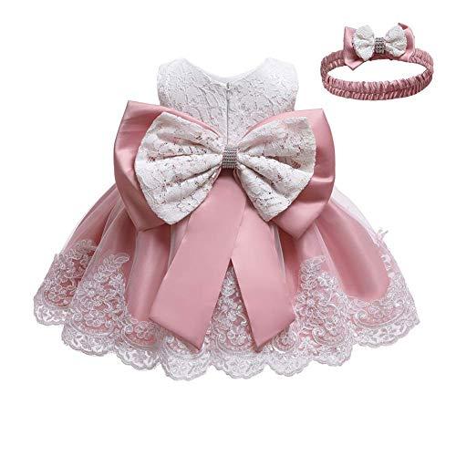 IWEMEK Vestido de encaje para bebé niña, con lazo, para dama de honor, de boda, con tutú, de princesa, para cumpleaños, fiesta, bautizo, 02 rosa grano., 4-5 Años