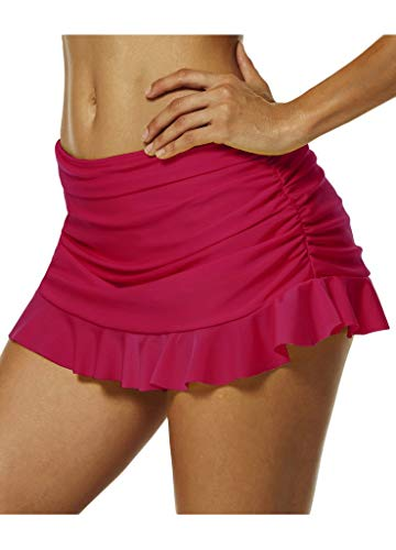 Damen Bikini Strand Rock Mit Integrierter Hose Volant Minirock Bequeme Größen Sport Fitness Yoga Kleidung Training Atmungsaktiv Sommerrock Strandrock (Color : Rosa, Size : S)