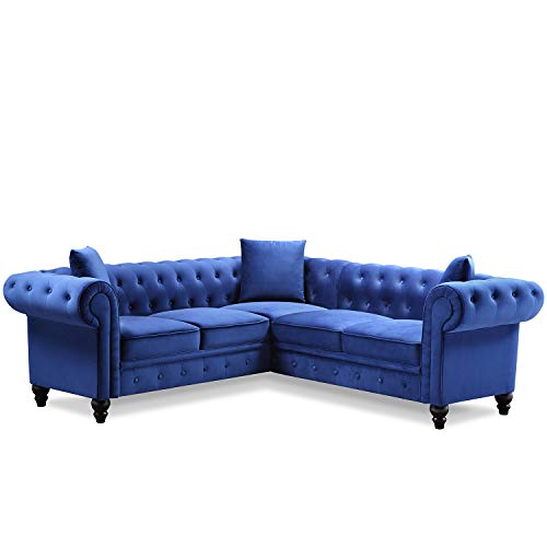 LIXIN Tufted Velvet Upholstered Rolled Arm Classic Chesterfield Sectional Sofa 3 Pillows Included-Grey,Blue