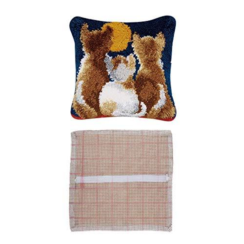 Iwinna 2Set Blank Cat Latch Hook Rug DIY Material Pillow Cushion Cover Handcraft Making
