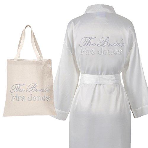 Personalisierbarer luxuriöser Satin-Bademantel & Tasche mit Aufschrift aus Kristallsteinen für die Braut, die Hochzeit, Kimono (Set 2) elfenbeinfarben