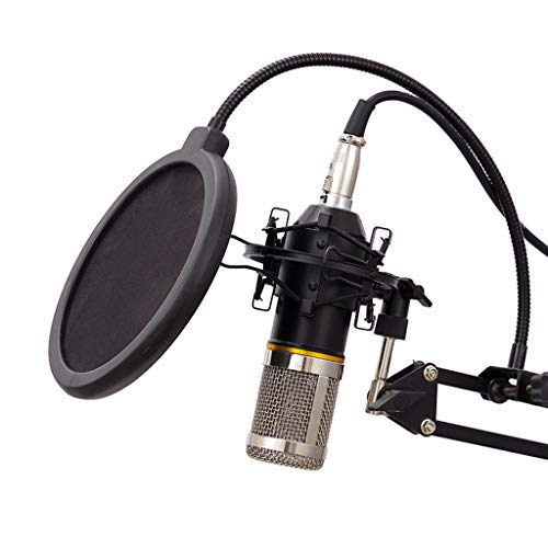Condensador Micrófono Interfaz 3.5 mm Equipo Grabación Transmisión Vivo Escritorio Mic Señalador Cardioide con Montaje Choque Soporte Pantalla Pulverización Plug and Play Conferencia KTV
