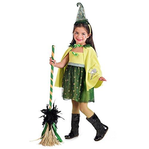 elben Bosque Bruja Mago Mago Disfraz Infantil nia para Carnaval Verde 3Piezas