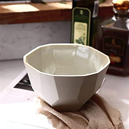 GZA Cerámica Prismática Tazón Polaco Olla De Barro for La Sopa De Fideos del Estilo De Europa para lavavajillas (Color : White, Size : 18CM)