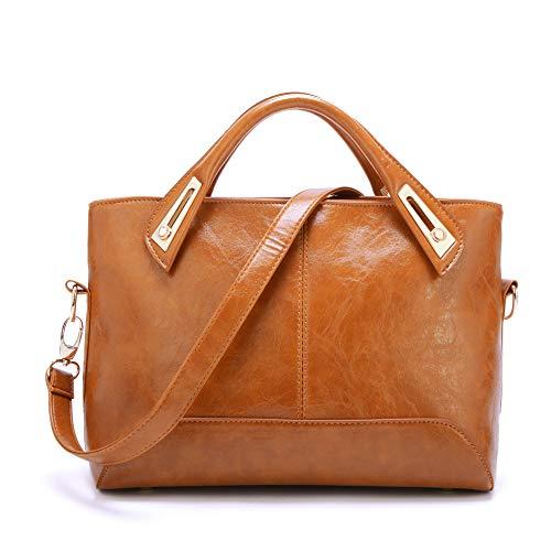 Bolsos de Las Mujeres, Popoti Bolsos de Mensajero de Cuero Bolso de Hombro Messenger Crossbody Bag, Nuevos Bolsillos de Compras Elegantes de la Señora (Marrón)