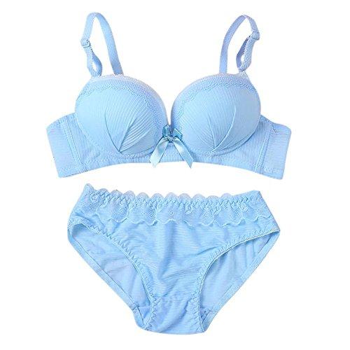 EFINNY Women Teen Girls Lolita Lace Underwire Bra & Brief Sets Soft Pad Striped Bras B Cup Blue