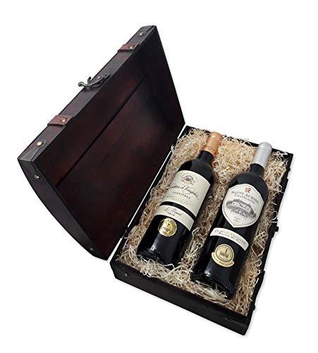 Geschenk-Schatztruhe mit französischen Weinen, 2 x 0,75 l Rotwein, prämiert mit Goldmedaille,