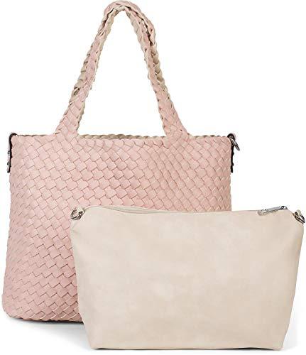 styleBREAKER XXL Wendetasche in Flecht-Optik, Shopper Tasche, 2 Taschen, Handtaschen Set, Bag in Bag, Schultertasche, Damen 02012163, Farbe:Rose/Beige
