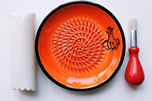 JOSKO Produkte 2739 Knoblauch, rot Reibeteller Set, Keramik, orange