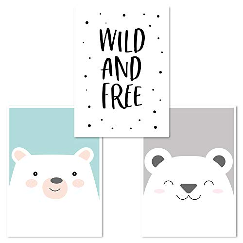Kinderzimmer Poster Set 3 Stück, Babyzimmer Deko, DINA 4, Junge Mädchen, (Bär, Wild&Free, Bär)