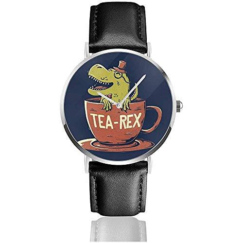 Unisex Tea Rex Teacup Uhren Quarz Lederuhr mit schwarzem Lederband