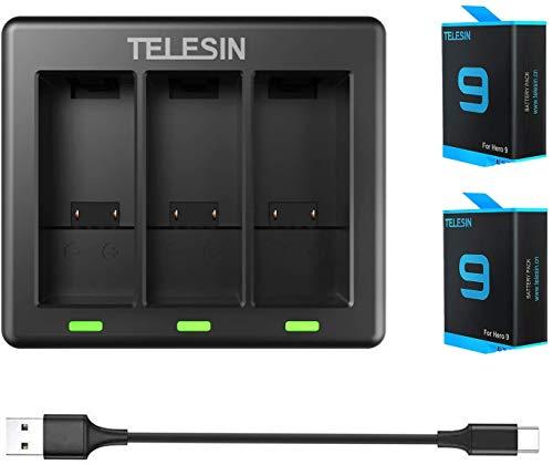 TELESIN Pack de 2 baterías de repuesto (1750 mAh) con cargador triple de 3 canales con cable tipo C para GoPro Hero 9 Negro, totalmente compatible con cargador original y batería Go Pro 9
