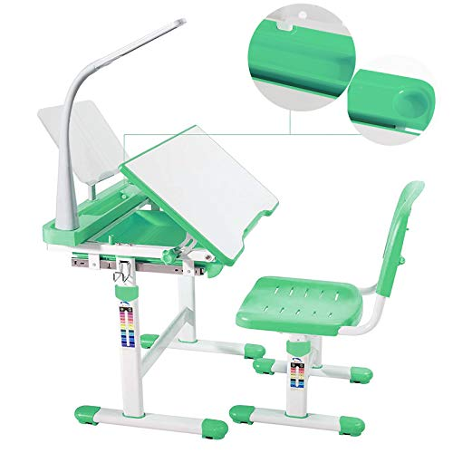 mecor Kids Desk and Chair Set, Height Adjustable Children's Sturdy Table, Student School Desks,Pencil Case,Bookstand (Green)