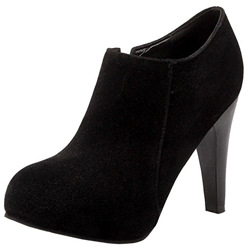 RAZAMAZA Mujer Botines Tacones Altos Moda Fiesta Zapatos Cremallera de Botas (38 EU, 1257 Black)