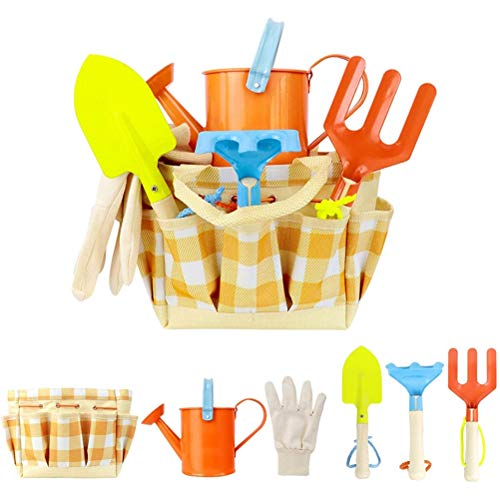 YOISMO Juego de herramientas de jardinería para niños con bolsa de transporte, pala, regadera, cubo y accesorios de jardín incluidos, juguete educativo divertido para niños